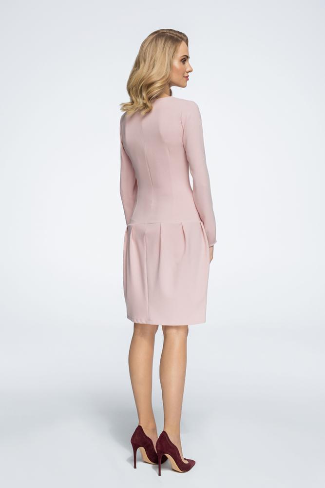 CM3056 Sukienka mini z obniżoną linią talii - pudrowa