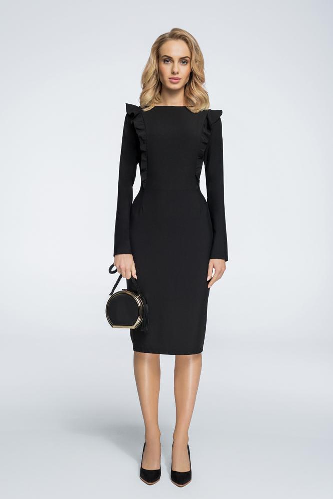 CM3057 Ołówkowa sukienka zdobiona falbankami - czarna