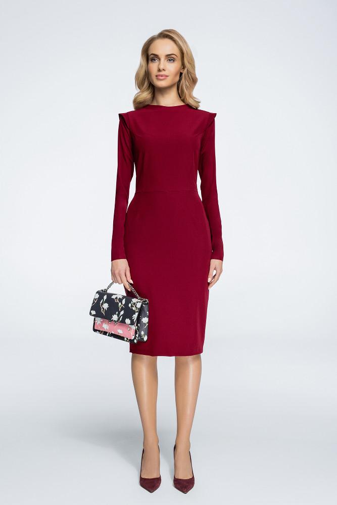 CM3058 Sukienka mini ze stójką i długim rękawem - bordowa