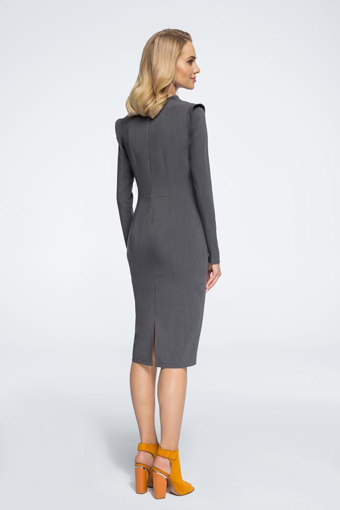 CM3058 Sukienka mini ze stójką i długim rękawem - szara