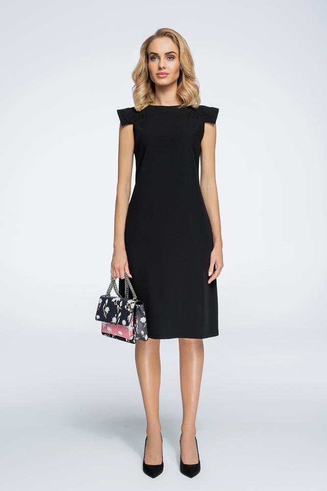 CM3059 Sukienka z ozdobnymi rękawami - czarna