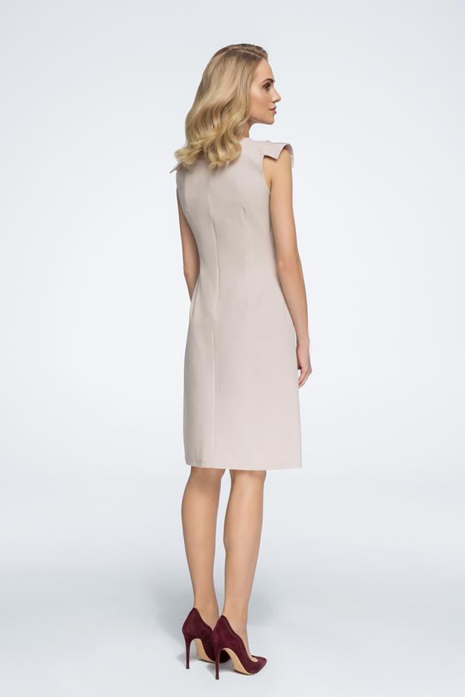 CM3059 Sukienka z ozdobnymi rękawami - beżowa