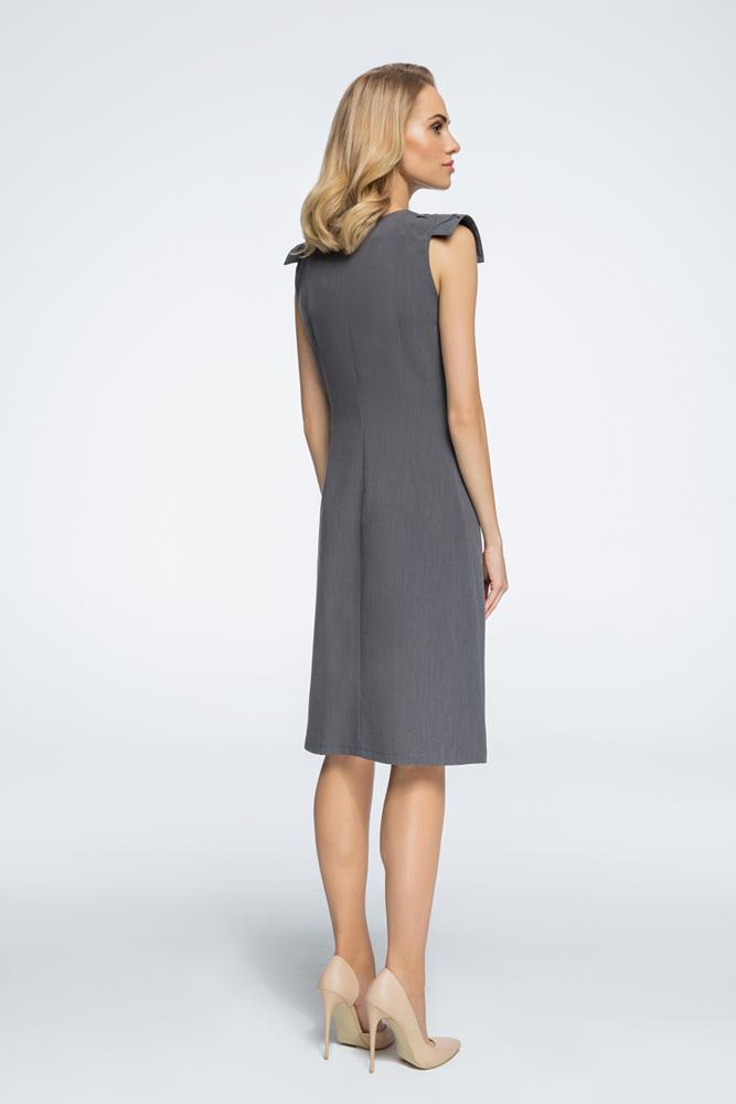 CM3059 Sukienka z ozdobnymi rękawami - szara