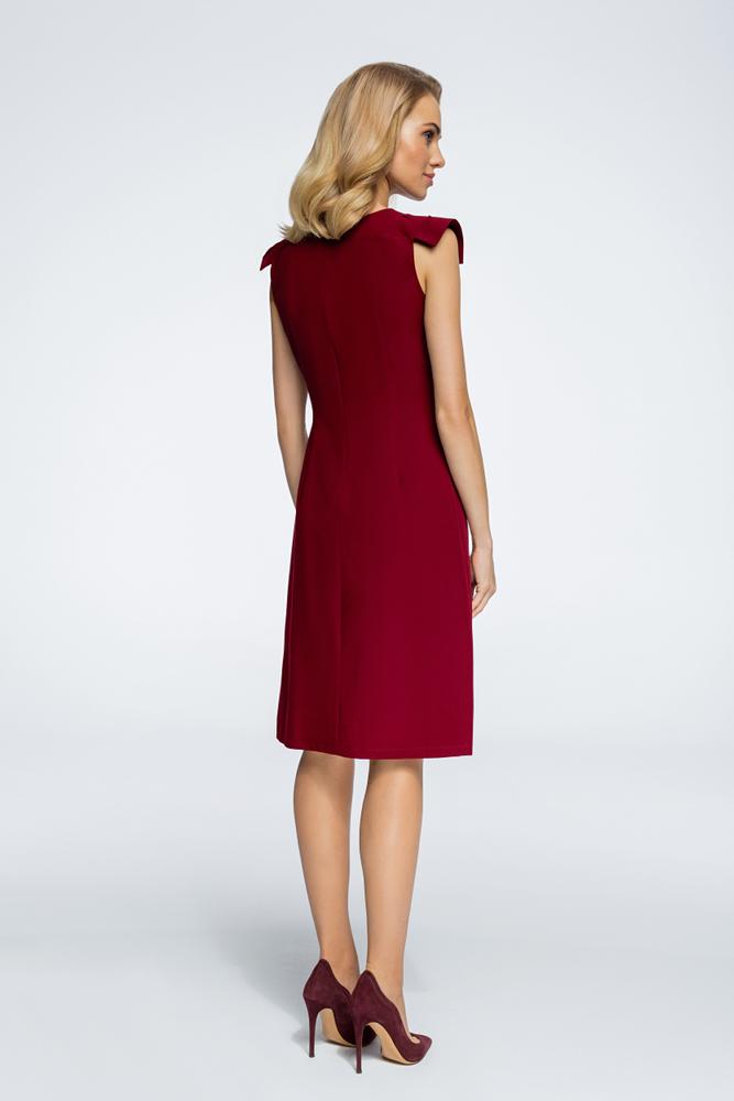 CM3059 Sukienka z ozdobnymi rękawami - bordowa