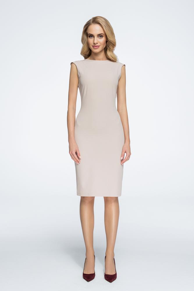 CM3060 Sukienka z przeszyciami przy rękawach - beżowa