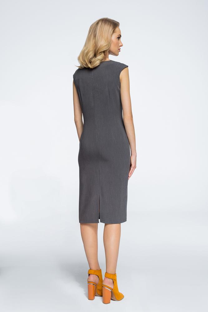 CM3060 Sukienka z przeszyciami przy rękawach - szara