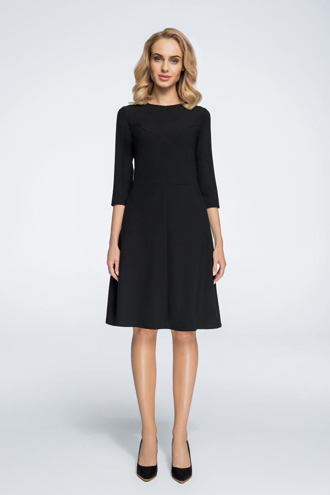 CM3061 Nowoczesna sukienka z geometrycznymi przeszyciami - czarna