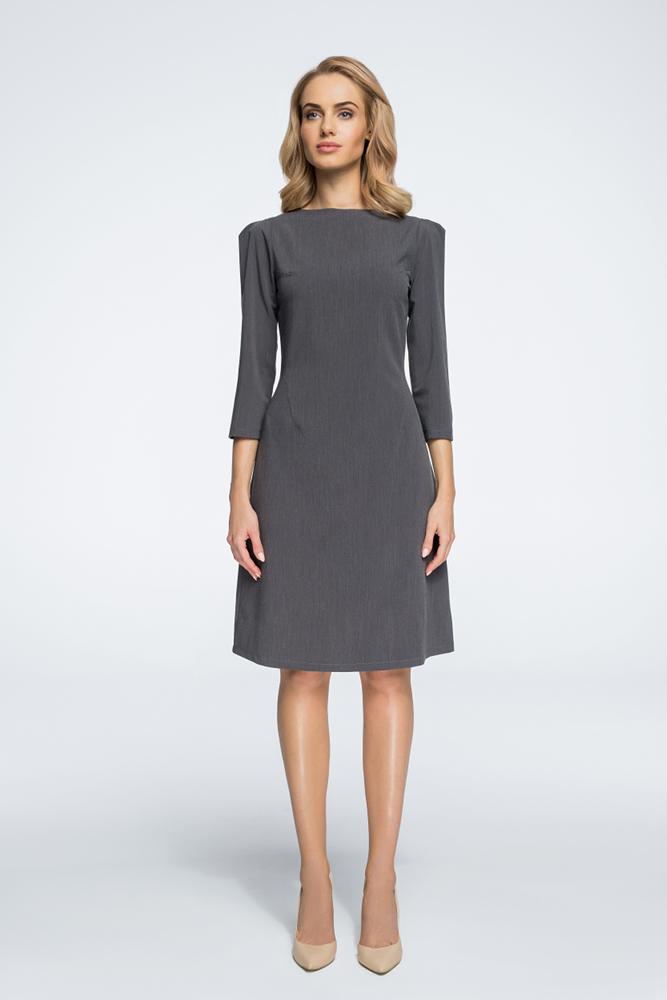 CM3062 Sukienka z rękawami typu bufka - szara