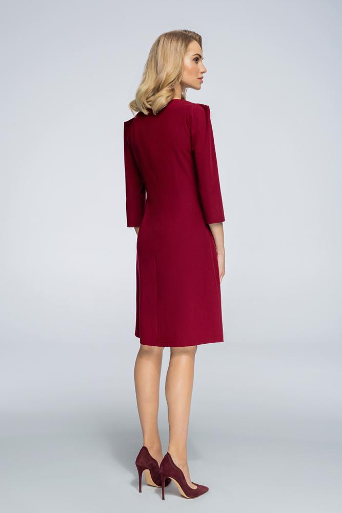 CM3062 Sukienka z rękawami typu bufka - bordowa