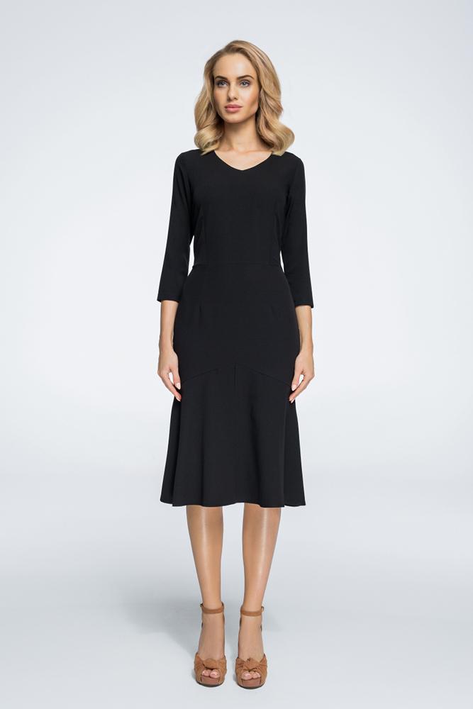 CM3063 Sukienka typu rybka z kontrafałdą - czarna