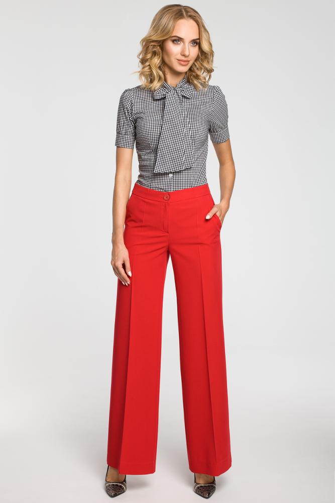 CM3102 Damskie spodnie z szerokimi nogawkami - czerwone