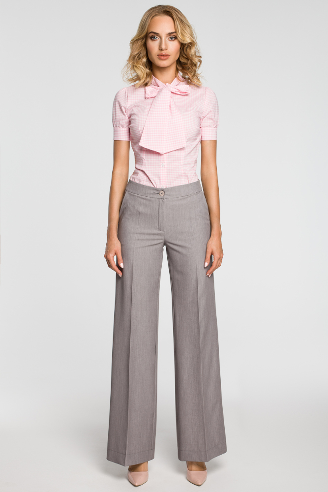 CM3102 Damskie spodnie z szerokimi nogawkami - szare