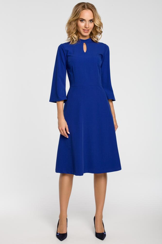 CM3103 Sukienka z łezką w dekolcie - chabrowa