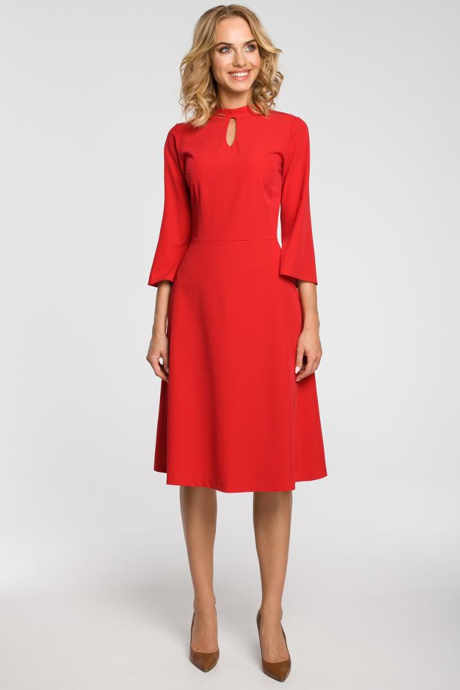 CM3103 Sukienka z łezką w dekolcie - czerwona