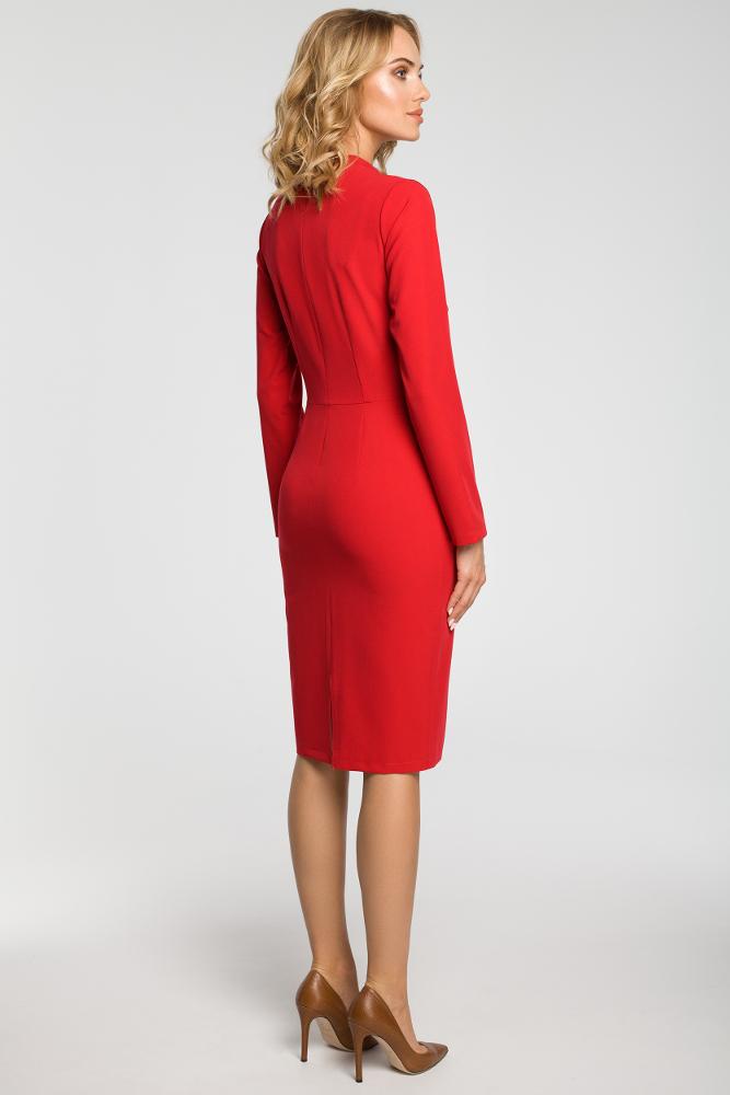 CM3104 Dopasowana sukienka midi z żabotem - czerwona