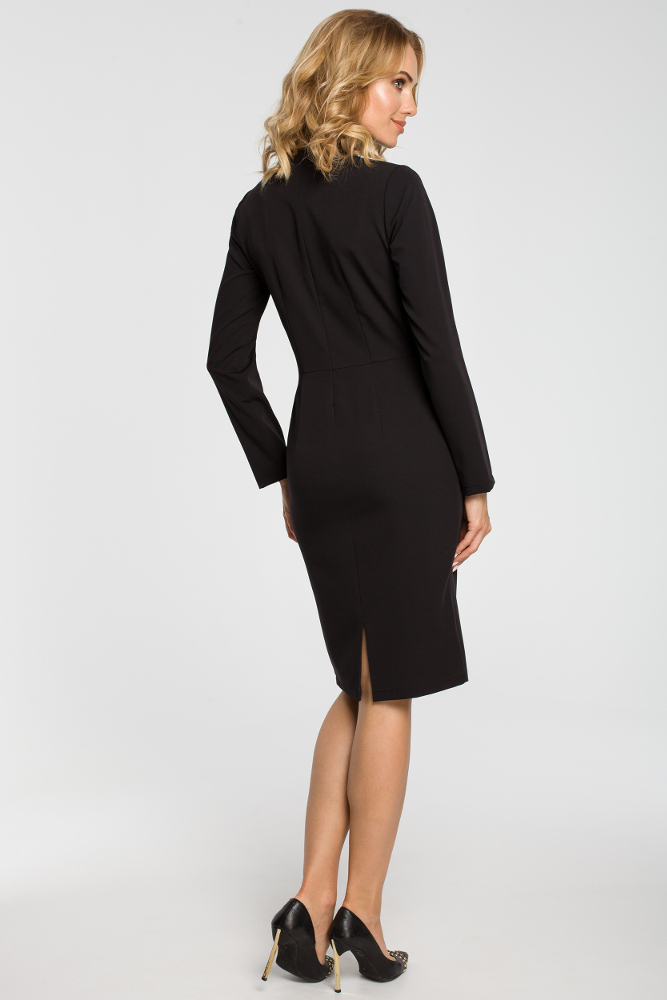 CM3104 Dopasowana sukienka midi z żabotem - czarna