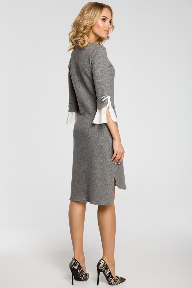 CM3106 Sukienka z warstwowymi rękawami - szara