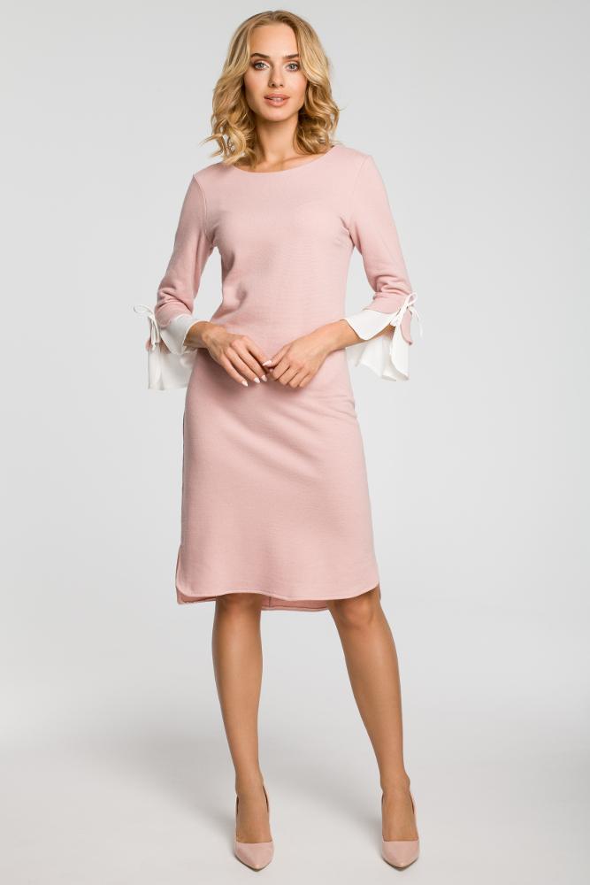 CM3106 Sukienka z warstwowymi rękawami - różowa