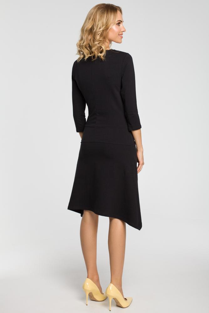 CM3107 Asymetryczna sukienka z obniżoną talią - czarna