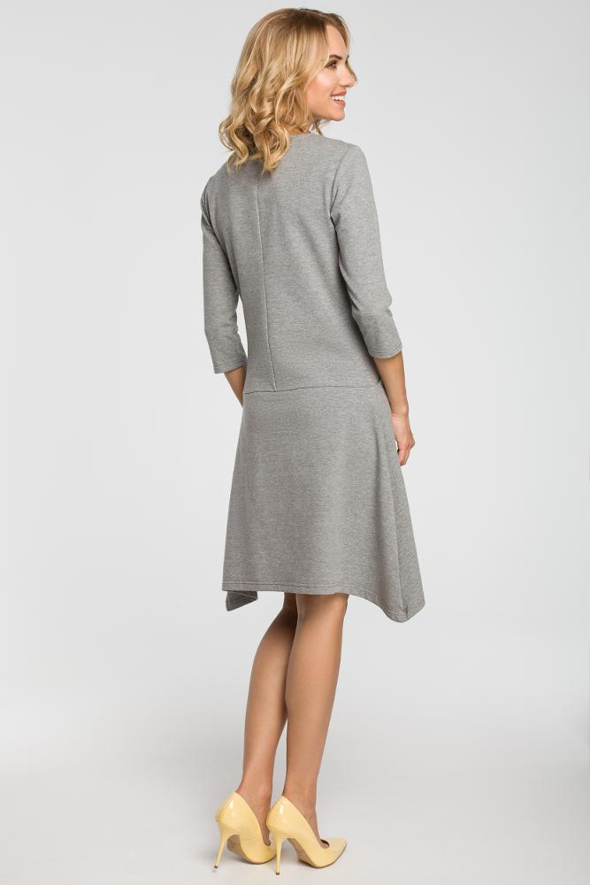 CM3107 Asymetryczna sukienka z obniżoną talią - szara