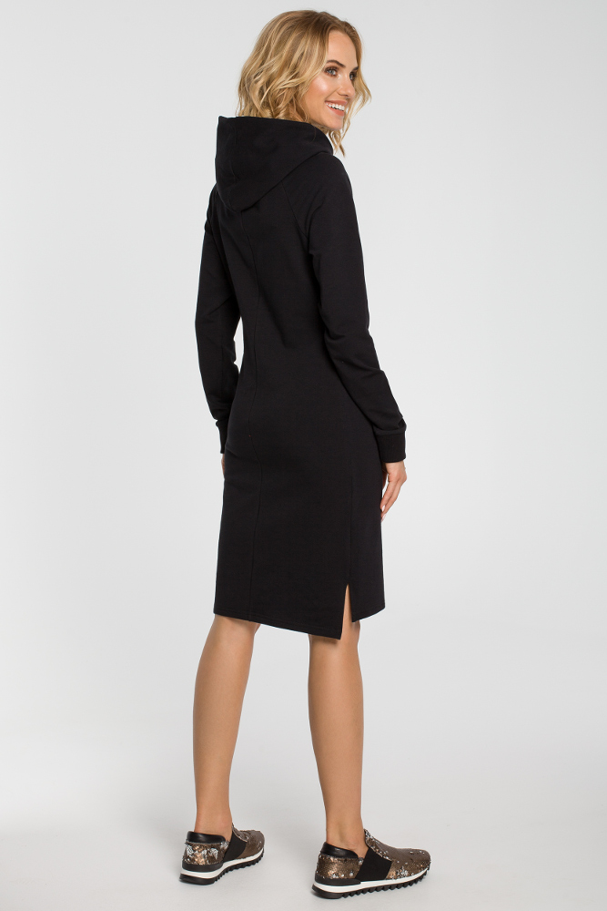 CM3108 Dresowa sukienka kangurka - czarna