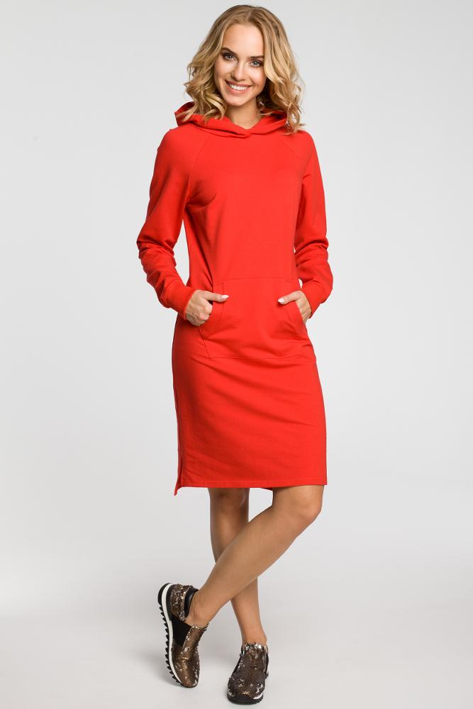 CM3108 Dresowa sukienka kangurka - czerwona