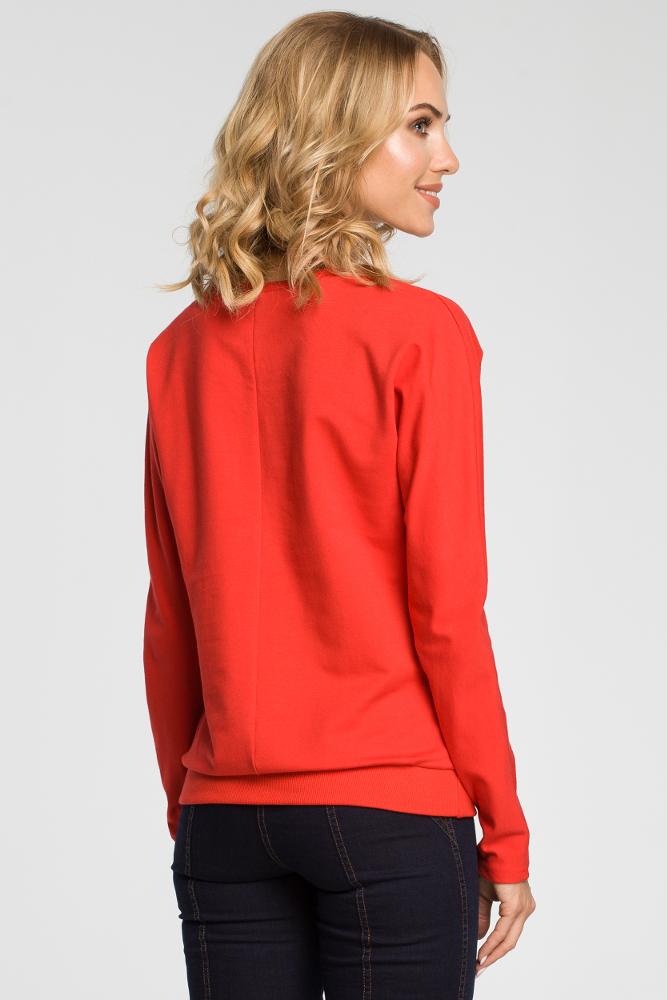 CM3110 Damska bluzka z falbanką - czerwona