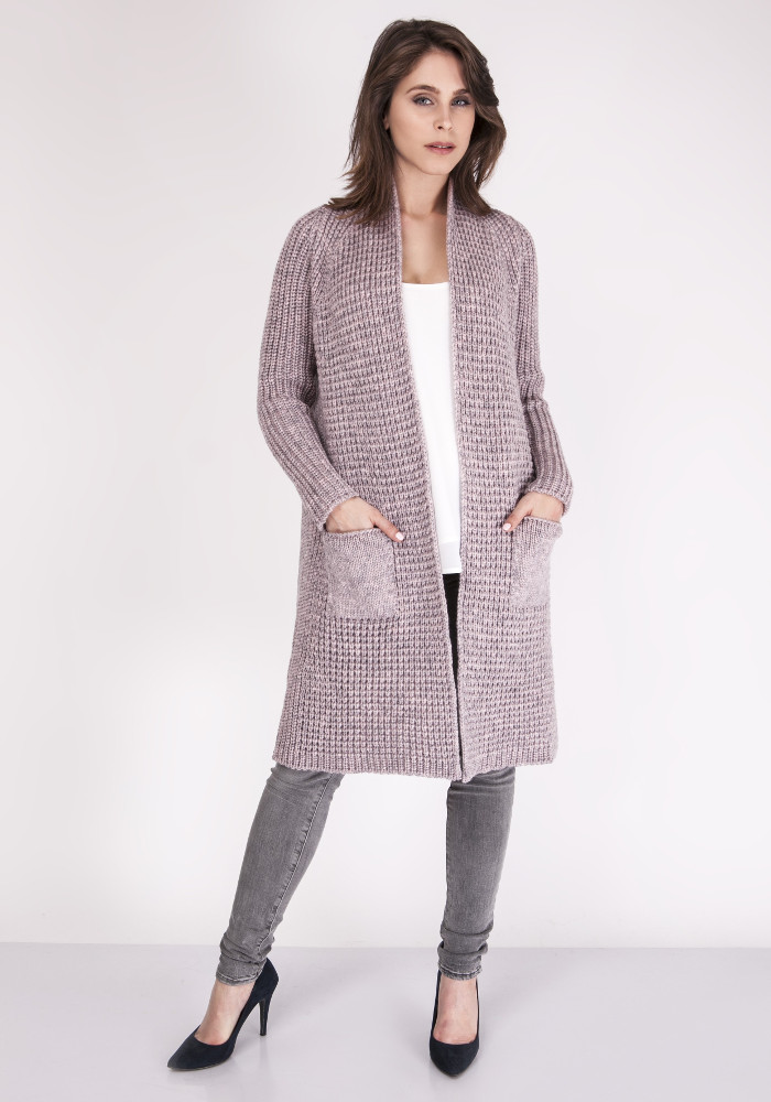 CM3070 Niezapinany płaszcz z kieszeniami - różowy