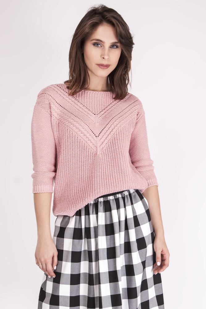 CM3074 Ażurowy modelujący sweter - pudrowy róż