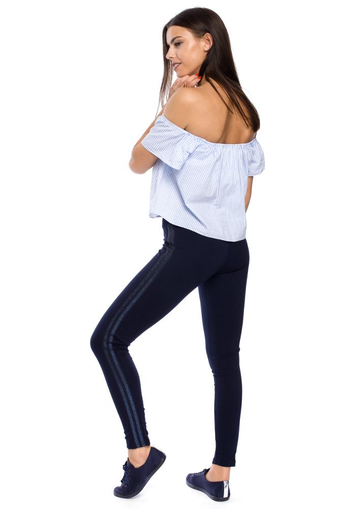 CM3141 Eleganckie kobiece legginsy z lampasem - model 1