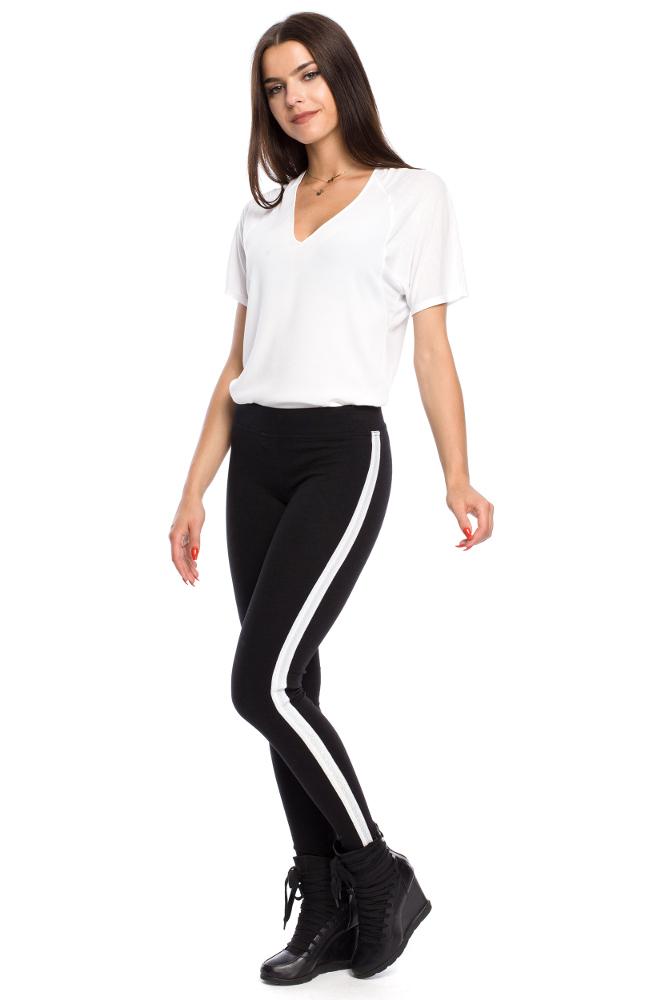 CM3141 Eleganckie kobiece legginsy z lampasem - model 3