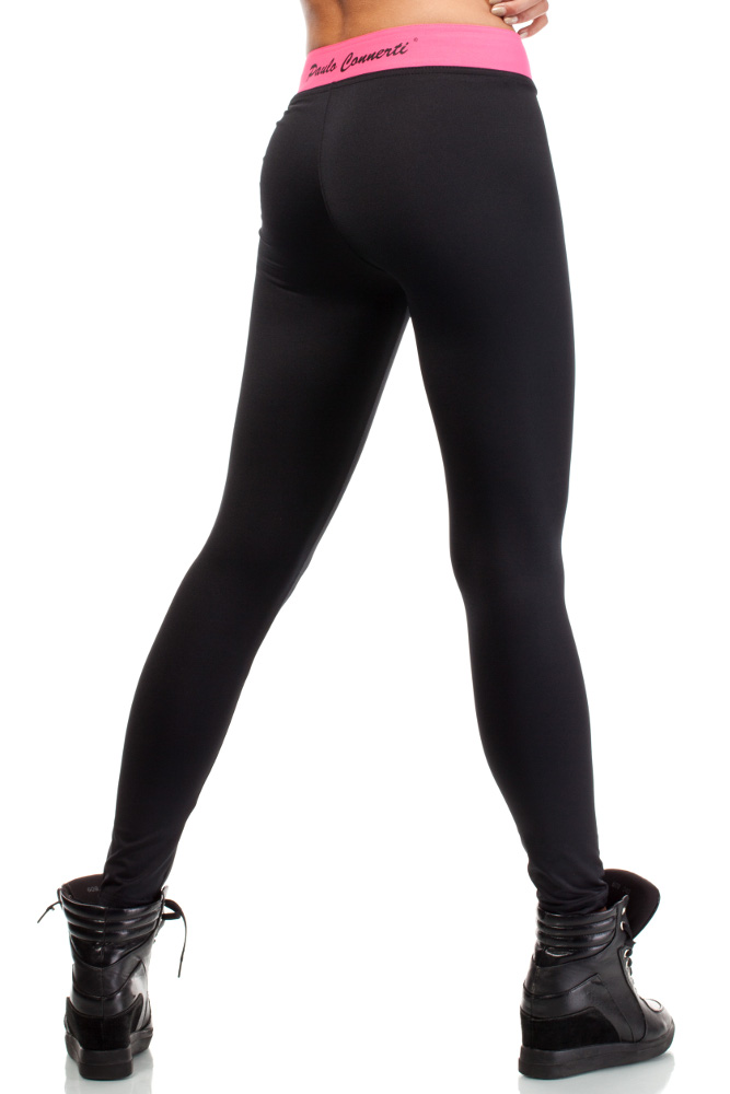 CM3142 Wyszczuplające legginsy dopasowane - czarno-różowe