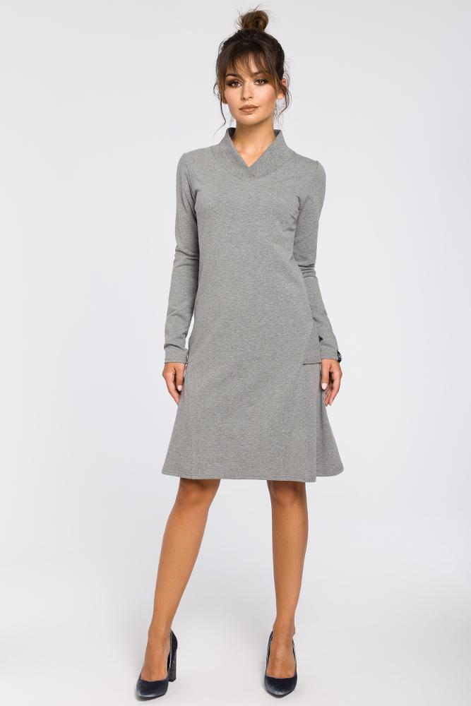 CM3182 Sukienka z klinami i wstawkami ze ściągacza - szara