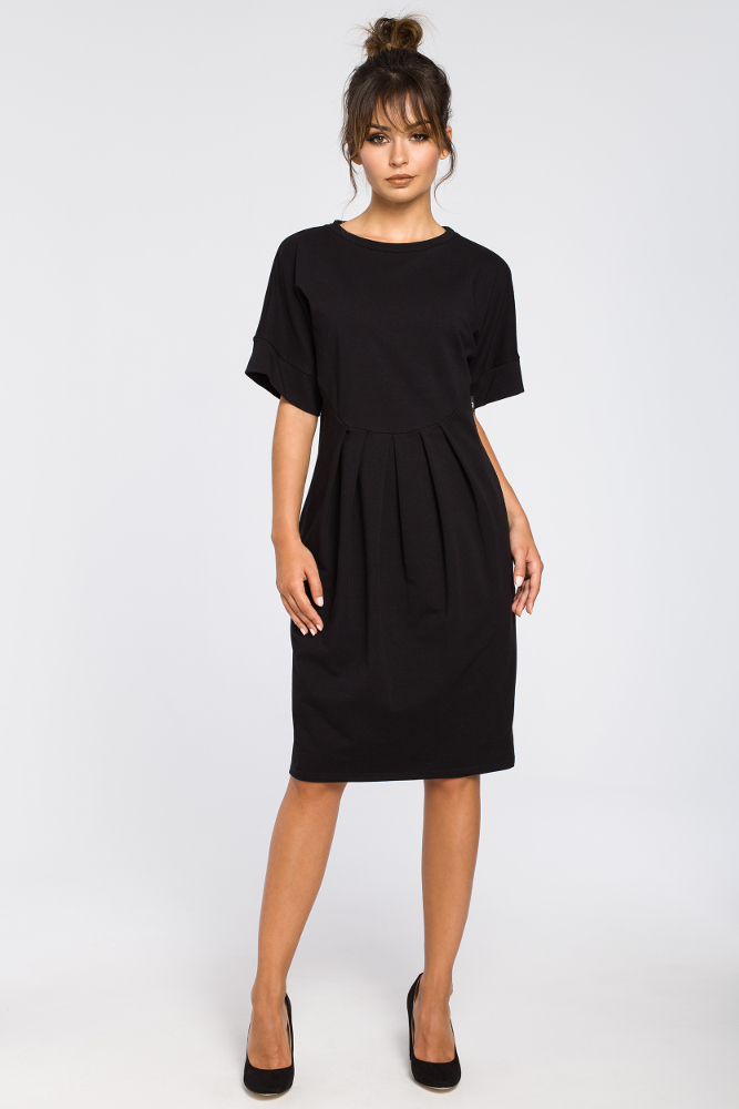 CM3183 Dresowa sukienka z zakładkami - czarna