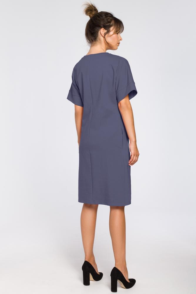 CM3183 Dresowa sukienka z zakładkami - niebieska