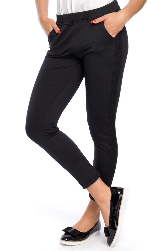 CM3144 Eleganckie czarne legginsy z lampasem - model 3
