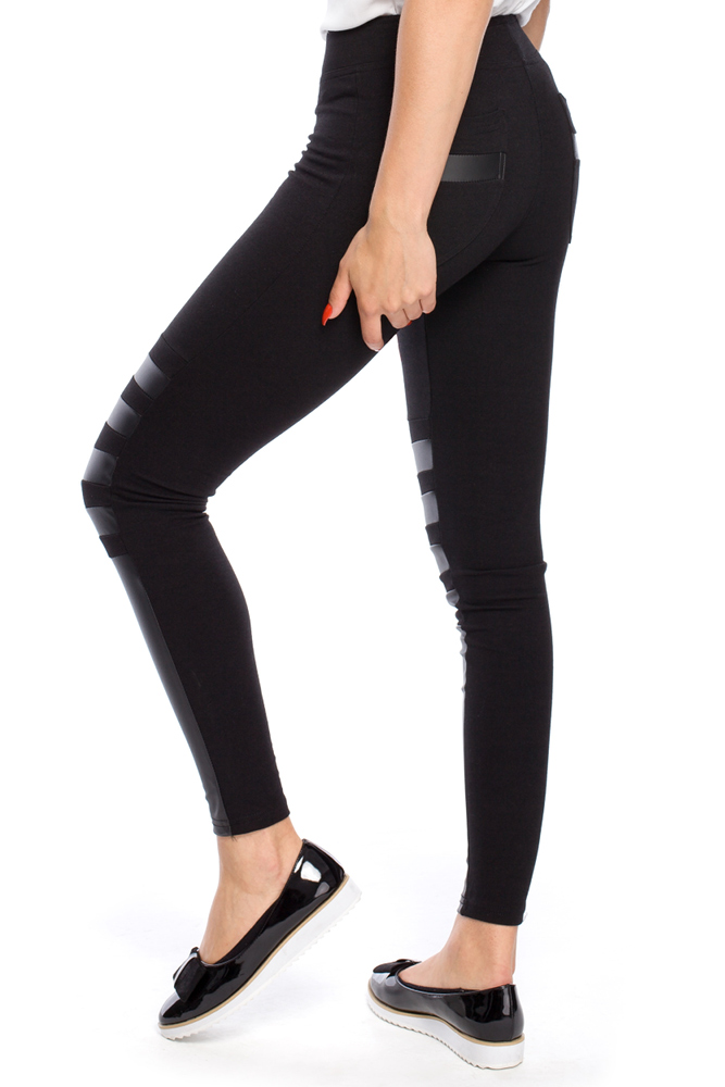 CM3145 Nowoczesne legginsy ze skórzanymi wstawkami na przodzie