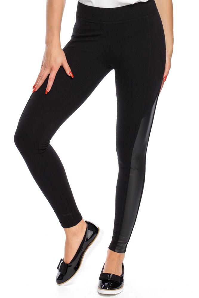 CM3146 Gładkie legginsy ze skórzanymi wstawkami po bokach