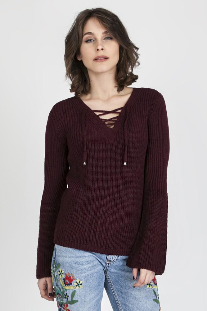 CM3082 Oryginalny sweter w stylu boho - bordowy
