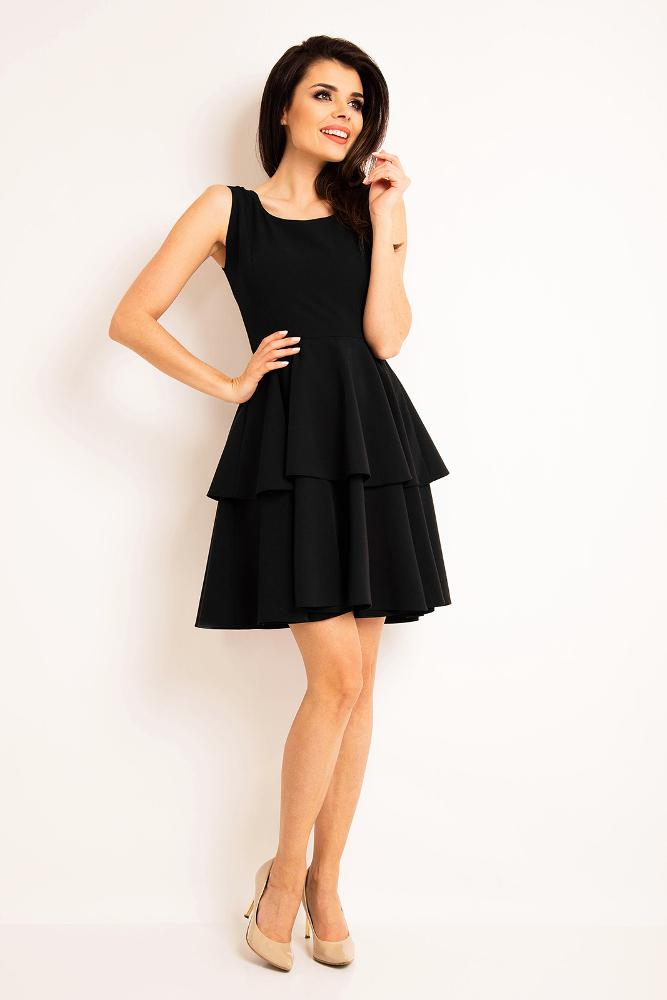 CM3192 Sukienka rozkloszowana bez rękawów - czarna