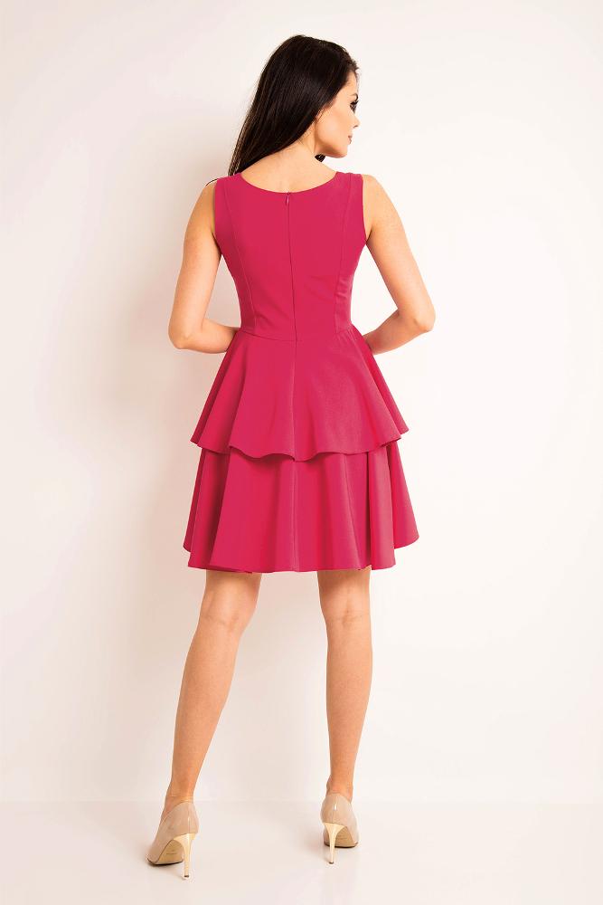 CM3192 Sukienka rozkloszowana bez rękawów - różowa