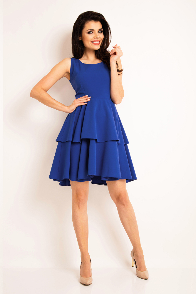CM3192 Sukienka rozkloszowana bez rękawów - niebieska