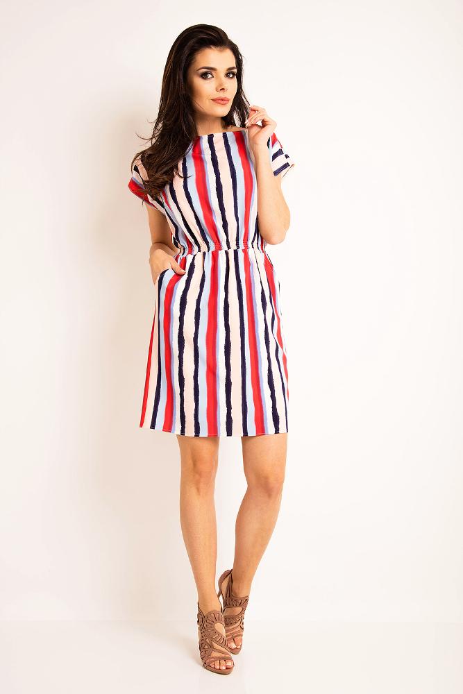 CM3195 Nowoczesna sukienka z szerokimi rękawami - paski