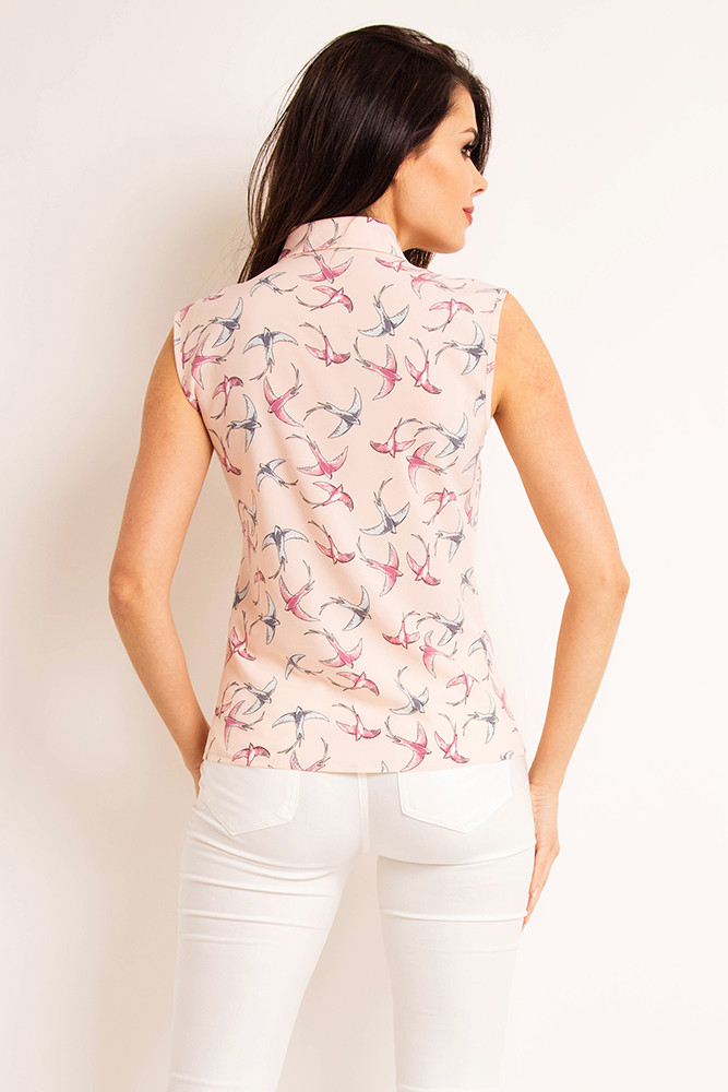 CM3198 Prosta koszula damska bez rękawów - różowy