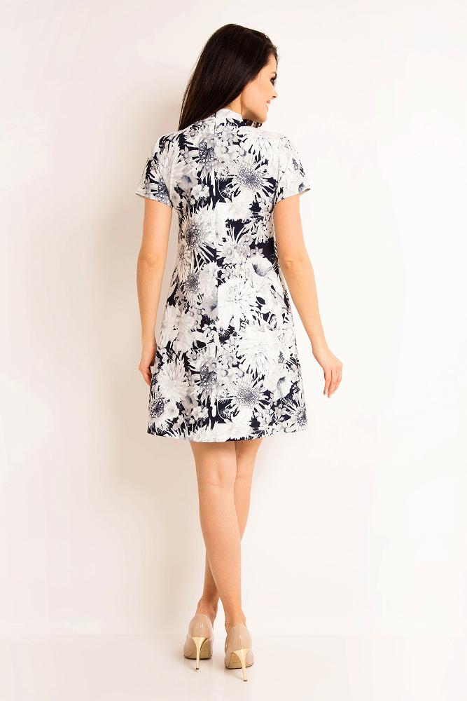 CM3200 Elegancka sukienka z krótkim rękawem - granatowa