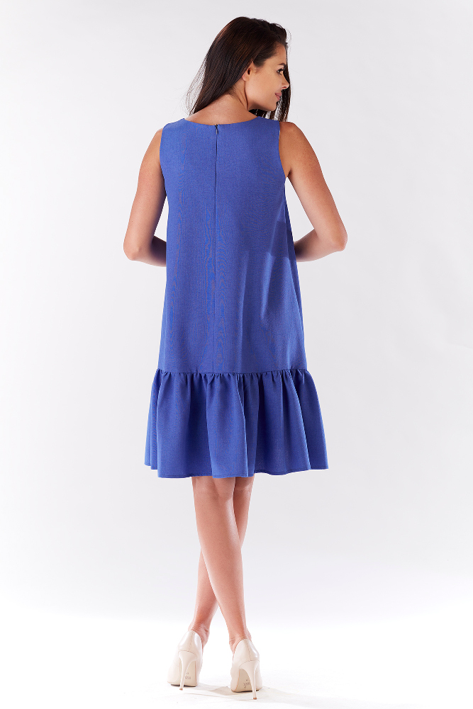 CM3205 Efektowna sukienka z falbaną - niebieska