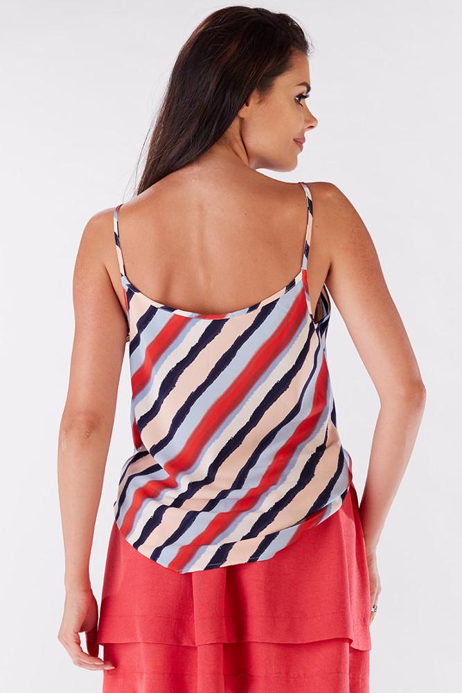 CM3206 Kobieca zwiewna bluzka na ramiączkach - paski