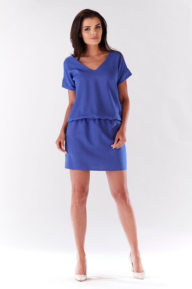 CM3207 Wygodna sukienka mini z krótkim rękawem - niebieska