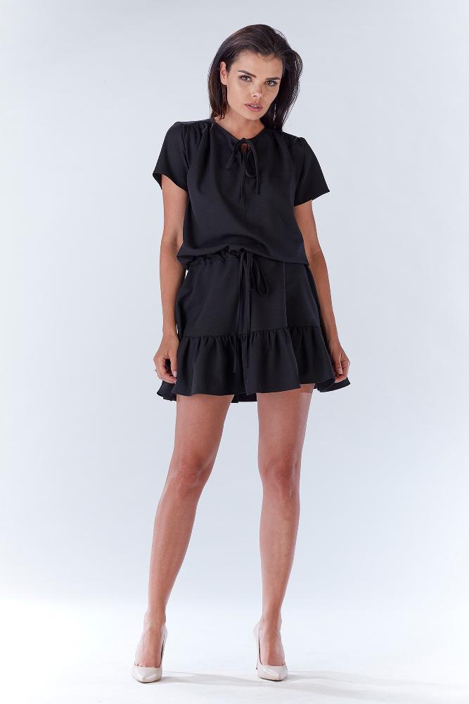 ba96a90ce9 CM3209 Kobieca sukienka z wiązaniem w pasie - czarna ...