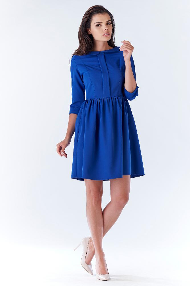 CM3212 Nowoczesna sukienka z uroczym kołnierzykiem - niebieska